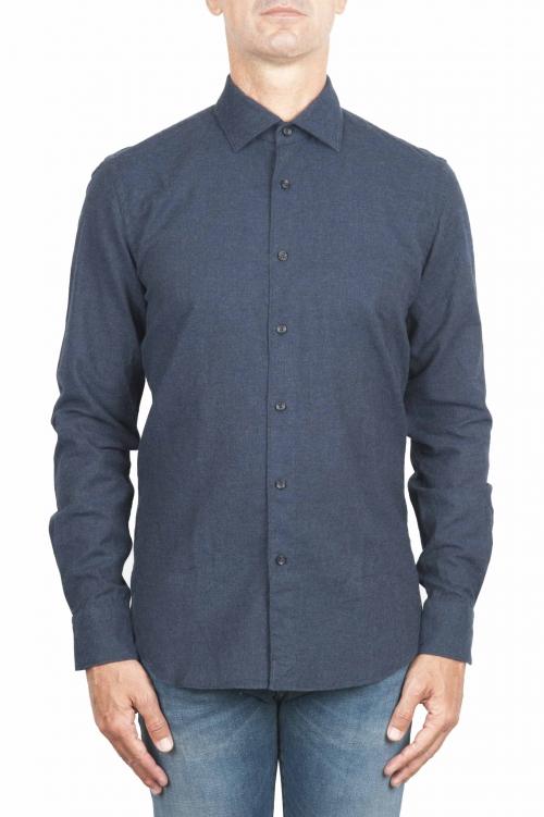 SBU 01309 Camicia in flanella di cotone tinta unita blue navy 01