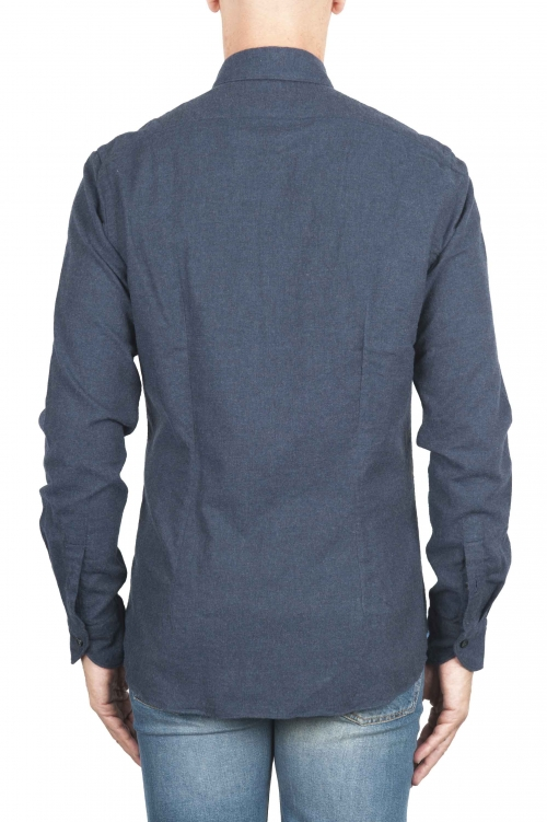 SBU 01309 Plain soft cotton blue navy flannel shirt 01