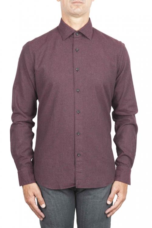 SBU 01310 Camicia in flanella di cotone tinta unita Bordeaux 01