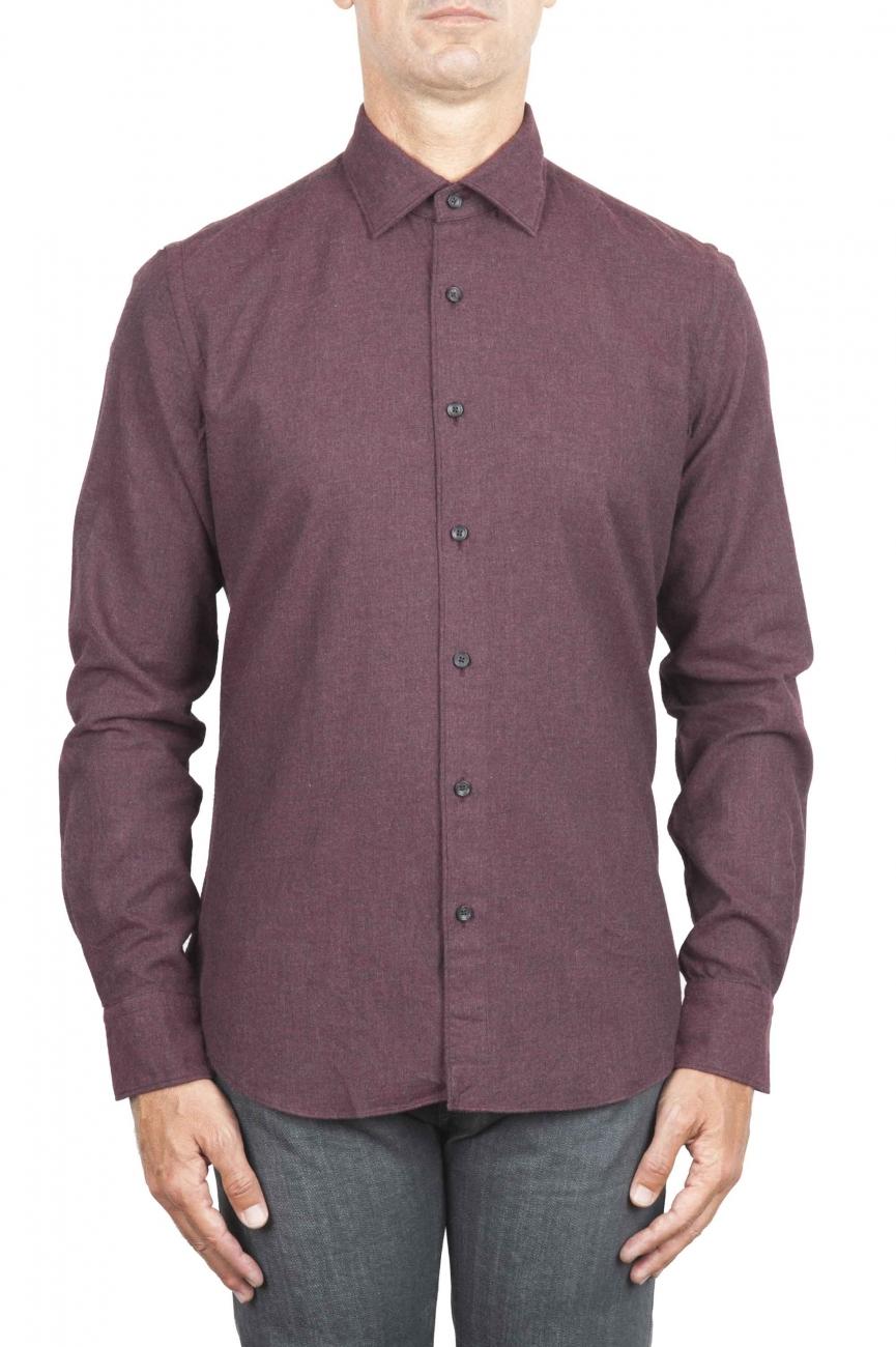 SBU 01310 ボルドーのソリッドカラーの綿のフランネルシャツ 01