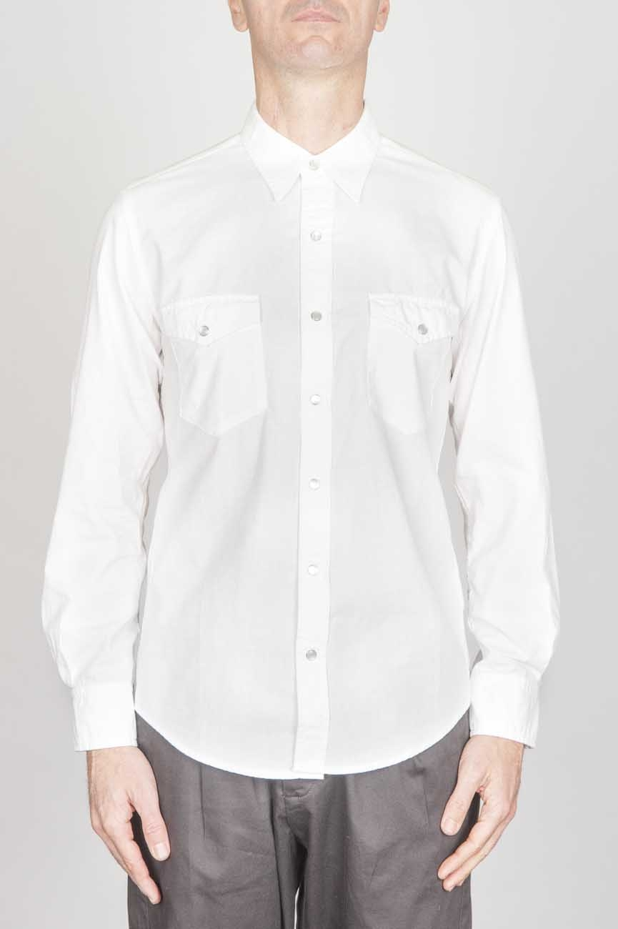 SBU - Strategic Business Unit - Classic White Cotton Chambray Rodeo Shirt