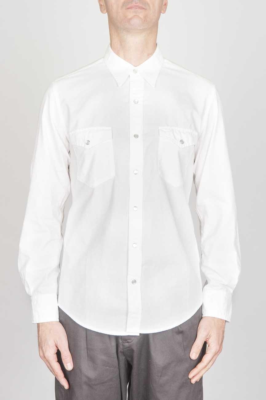 SBU - Strategic Business Unit - クラシックな白い綿のシャンブレーのロデオシャツ