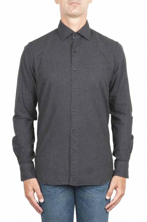 SBU 01311 Plain soft cotton grey flannel shirt 01