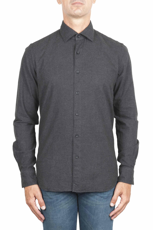 SBU 01311 プレーンコットングレーのフランネルシャツ 01