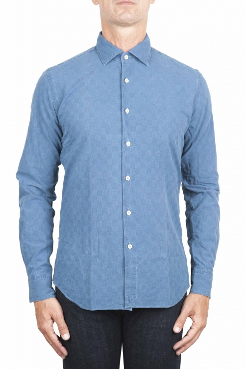 SBU 01312 Natural indigo dyed embossed cotton shirt 01