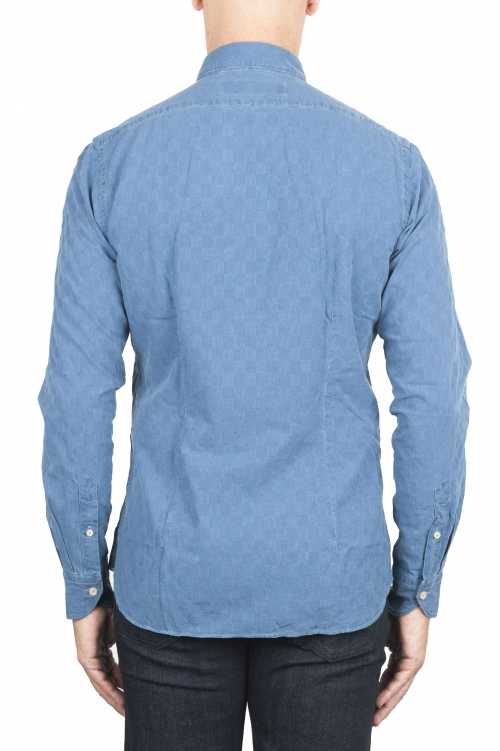 SBU 01312 Camicia in cotone goffrato tinta con indaco naturale 01