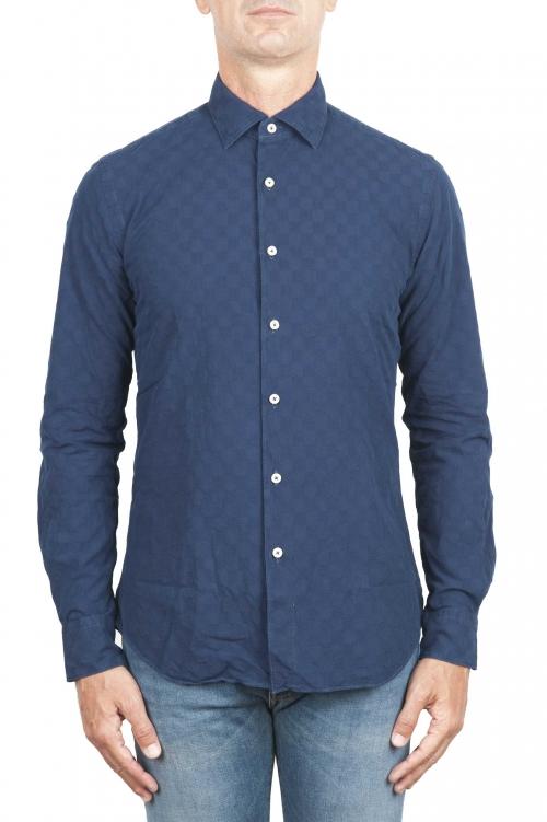 SBU 01313 Camisa de algodón en relieve teñido añil puro 01