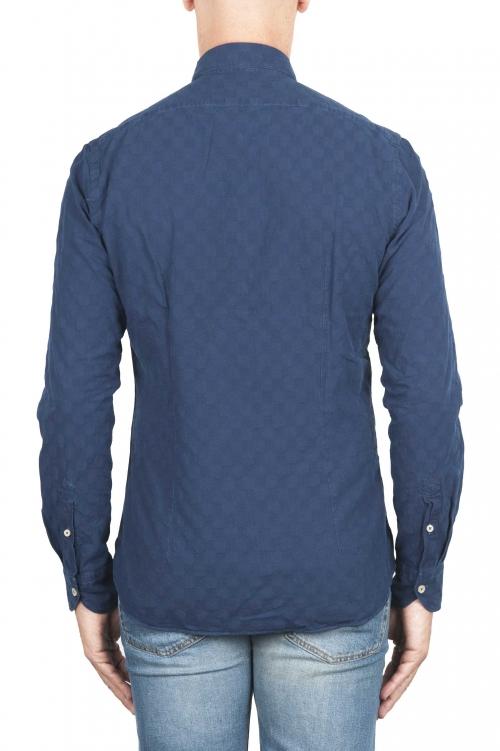 SBU 01313 ピュアインディゴ染めエンボスコットンシャツ 01