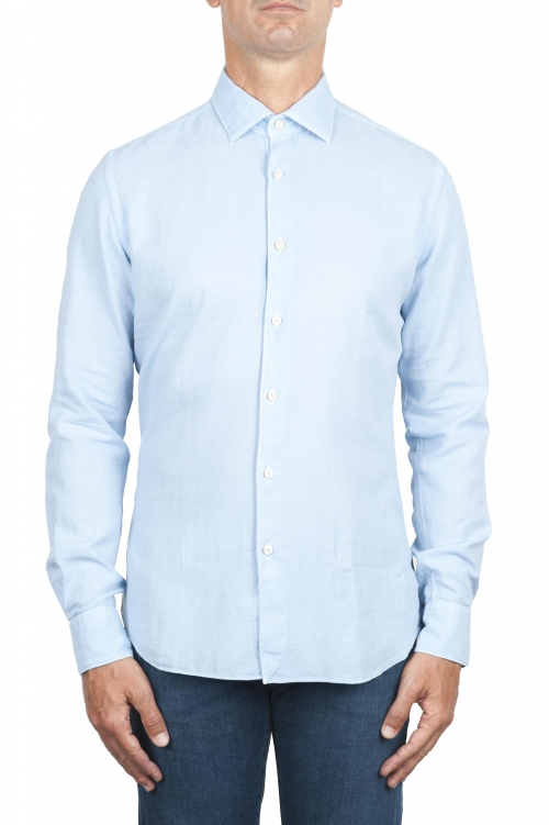 SBU 01314 Blue cotton twill shirt 01