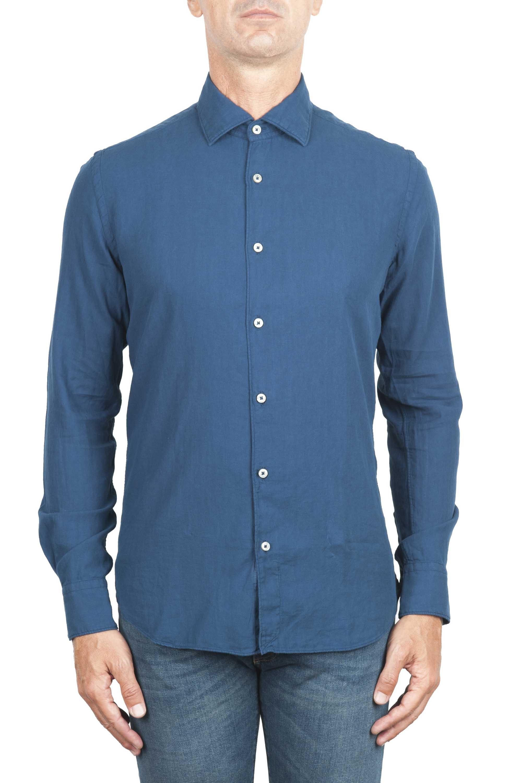 SBU 01315 Camicia in twill di cotone blu 01