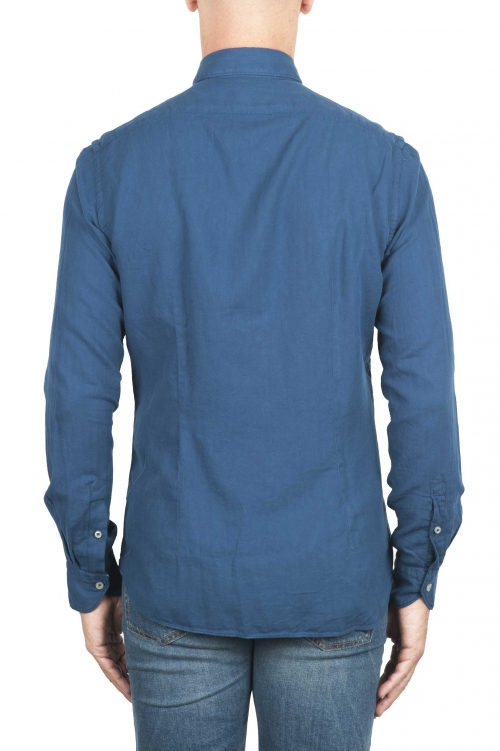 SBU 01315 Indigo cotton twill shirt 01