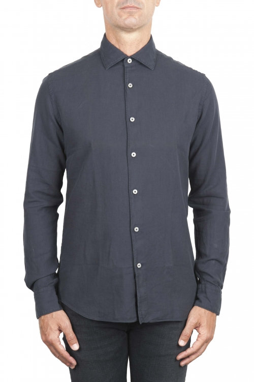 SBU 01316 Grey cotton twill shirt 01