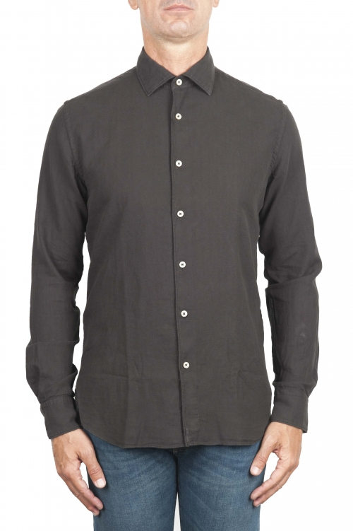 SBU 01317 Brown cotton twill shirt 01