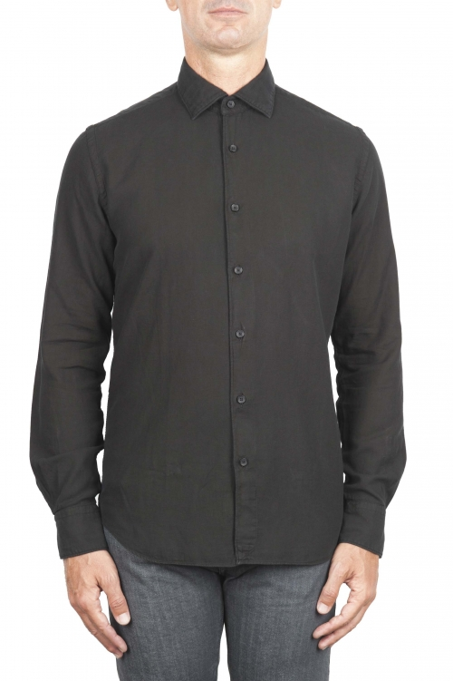 SBU 01318 Black cotton twill shirt 01