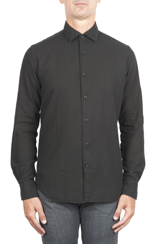 SBU 01318 Camicia in twill di cotone nera 01