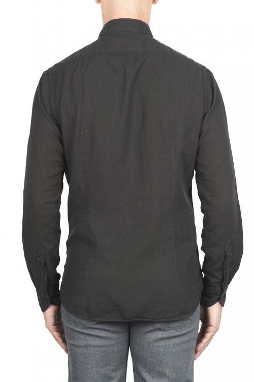 SBU 01318 ブラックコットンツイルシャツ 01