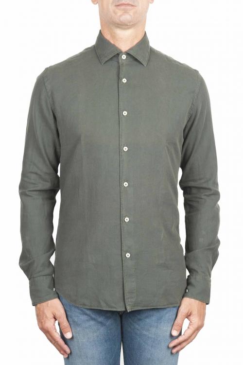 SBU 01319 Camisa de sarga de algodón verde 01