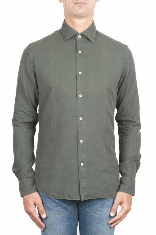 SBU 01319 Green cotton twill shirt 01