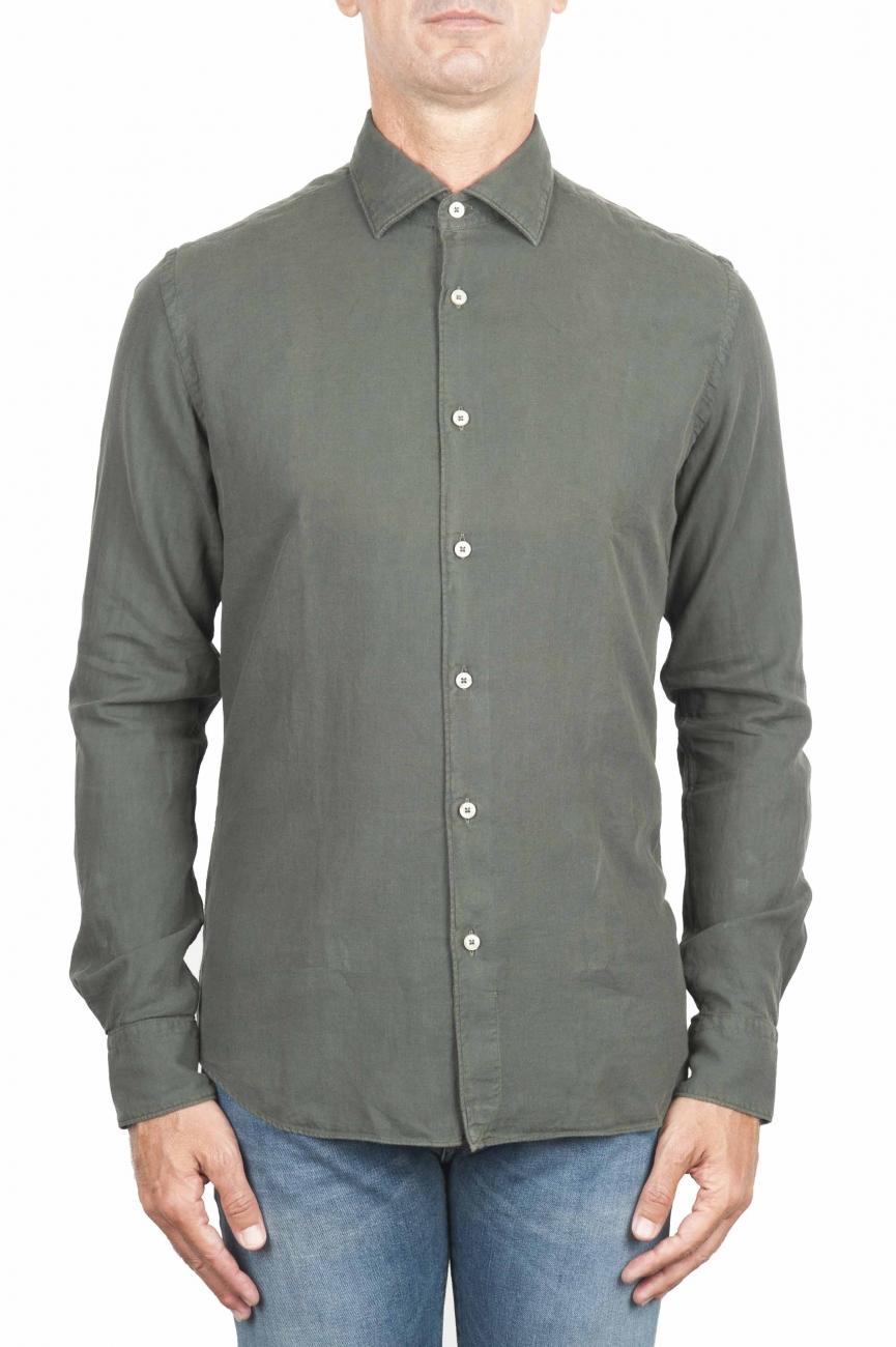 SBU 01319 Green cotton twill shirt 01