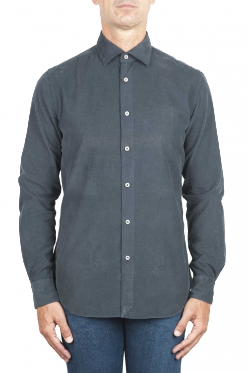SBU 01320 グレーコーデュロイコットンシャツ 01