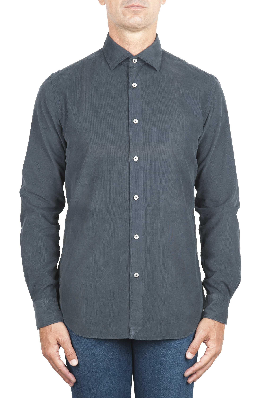 SBU 01320 Grey corduroy cotton shirt 01
