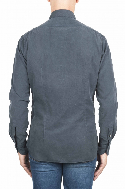 SBU 01320 Grey corduroy cotton shirt 01