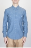SBU - Strategic Business Unit - Camicia Texana Western In Cotone Chambray Azzurro Indaco