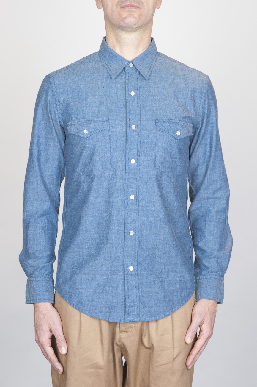 SBU - Strategic Business Unit - Classic Light Blue Indigo Cotton Chambray Rodeo Shirt