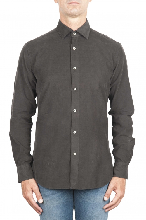SBU 01321 Brown corduroy cotton shirt 01
