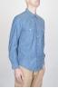 Camicia Texana Western In Cotone Chambray Azzurro Indaco