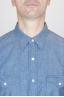 SBU - Strategic Business Unit - クラシックライトブルーインディゴコットンシャンブレーロデオシャツ