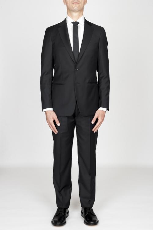 Blazer y pantalón del juego formal de los hombres de lana fresca negro