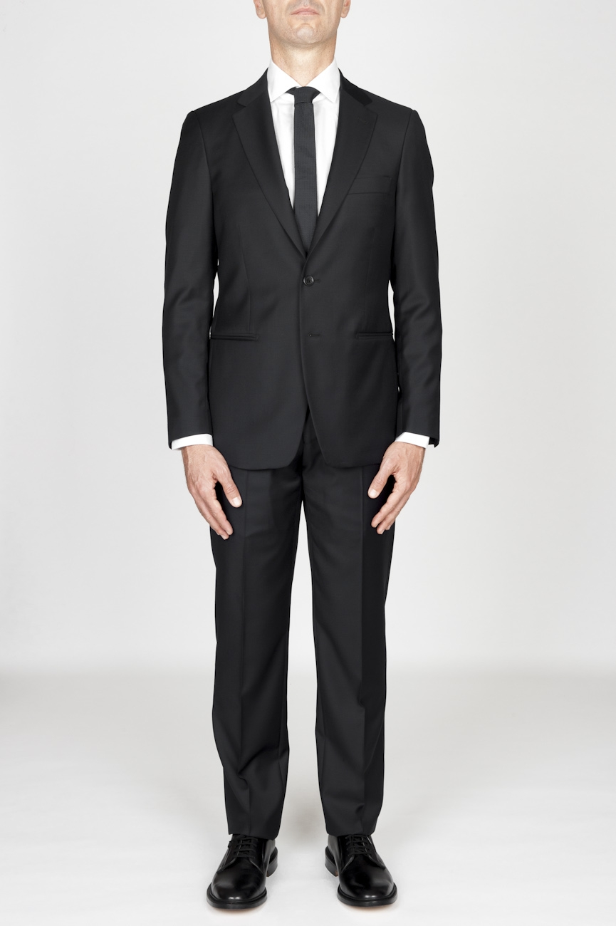 SBU - Strategic Business Unit - MenS Black Cool Wool Formal Suit Blazer And Trouser