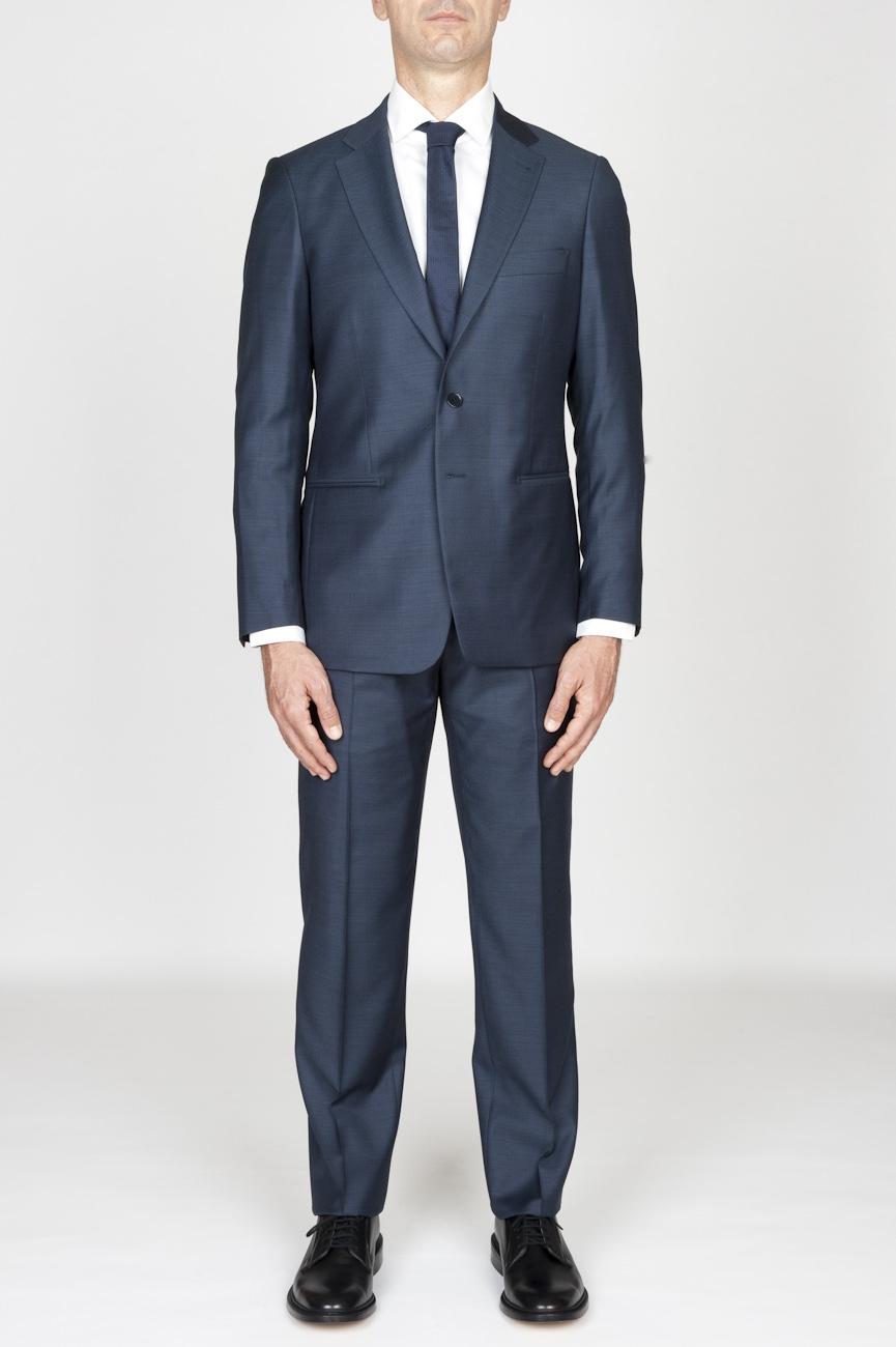 SBU - Strategic Business Unit - 男性用の青いクールウールフォーマルスーツブレザー、ズボン