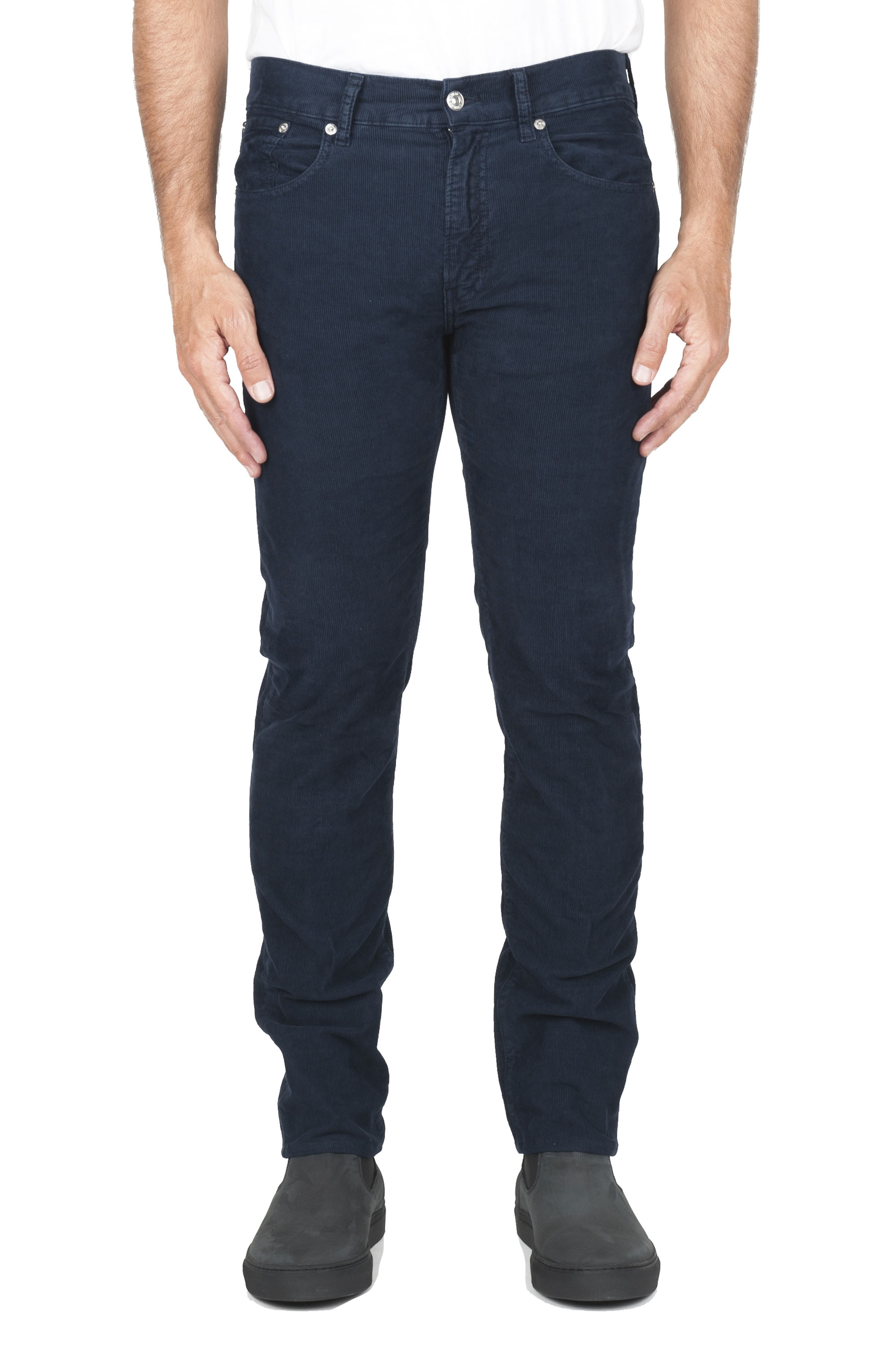 SBU 01456 Blue overdyed pre-washed stretch ribbed corduroy cotton jeans 01