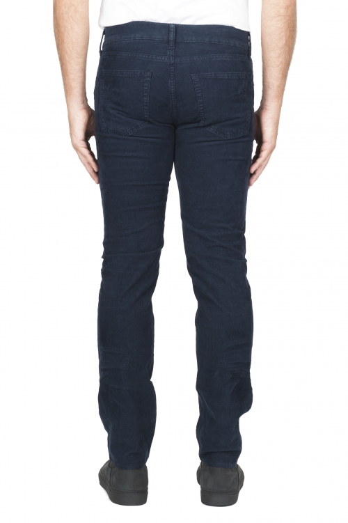 SBU 01456 Jeans elasticizzato in velluto millerighe a coste sovratinto prelavato blu 01