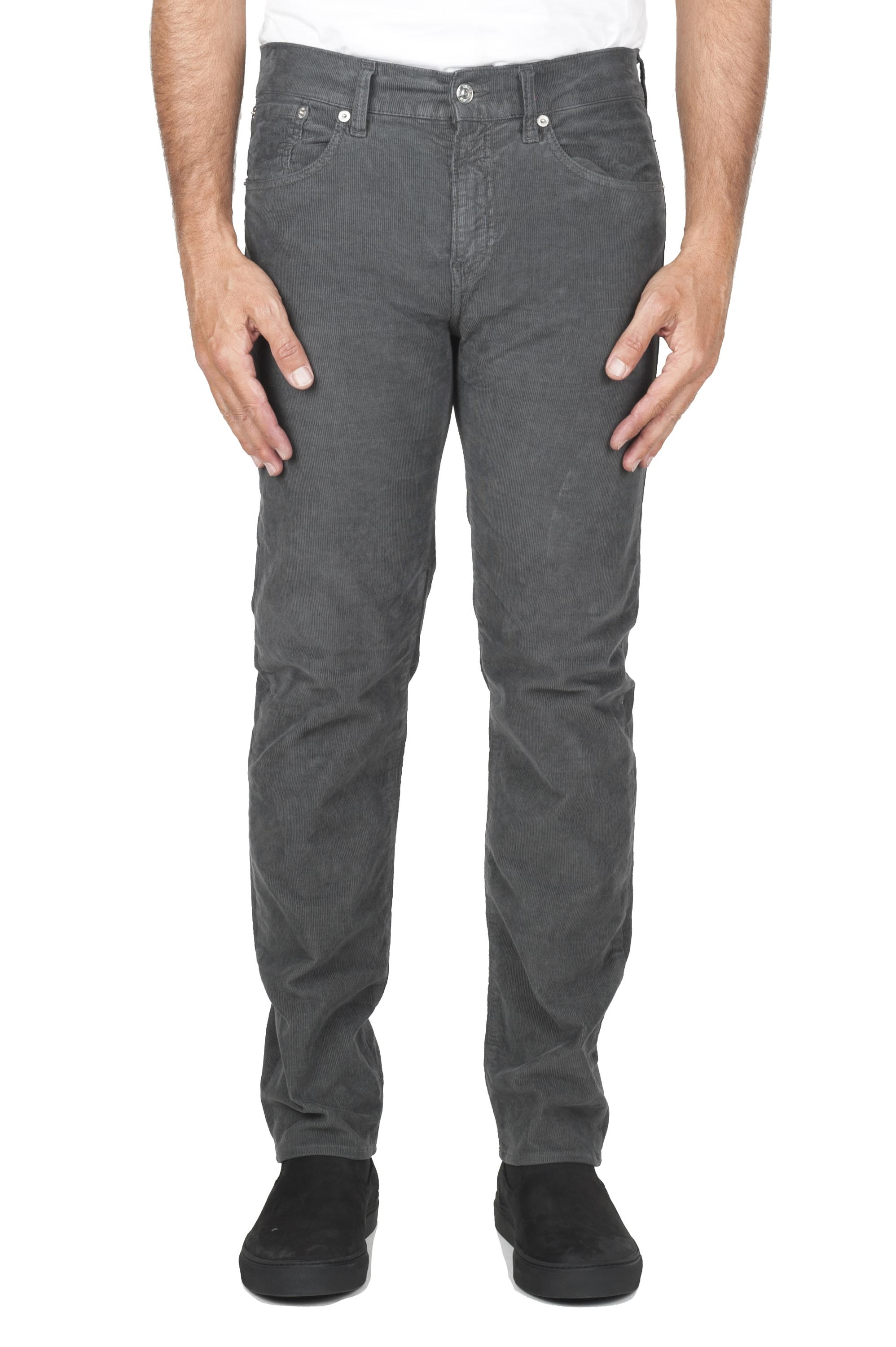 SBU 01457 Grey overdyed pre-washed stretch ribbed corduroy cotton jeans 01
