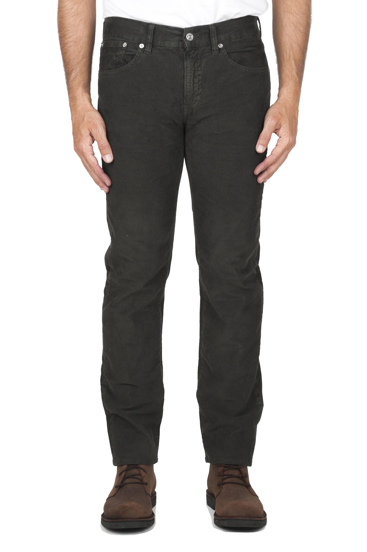 SBU 01458 Jeans elasticizzato in velluto millerighe a coste sovratinto prelavato marrone 01