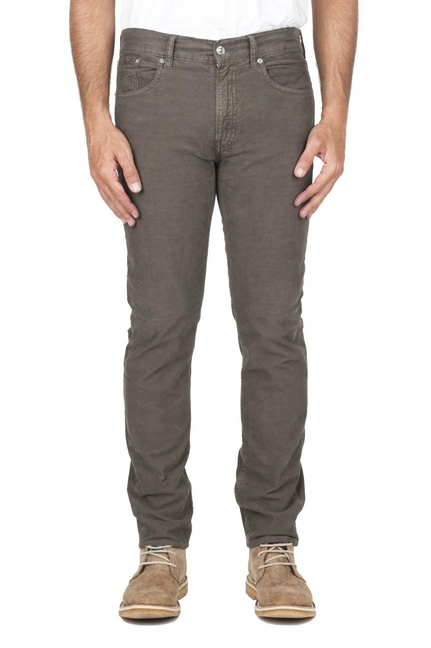 SBU 01460 Jeans elasticizzato in velluto millerighe a coste sovratinto prelavato oliva 01