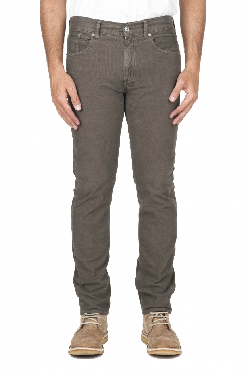 SBU 01460 Olive overdyed pre-washed stretch ribbed corduroy cotton jeans 01