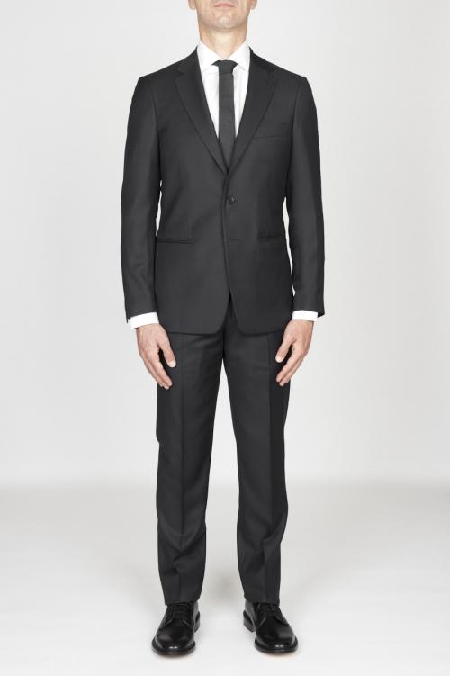 Blazer et pantalon de l habillement formel pour hommes en laine fraîche gris foncé œil-de-perdrix