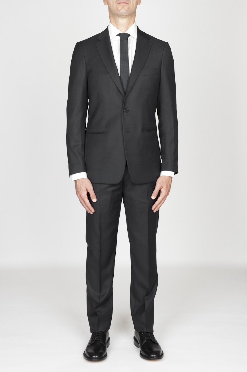 SBU - Strategic Business Unit - MenS Dark Grey Cool Wool Formal Suit Partridge Eye Blazer And Trouser
