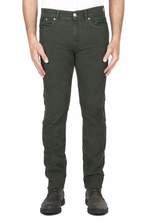 SBU 01461 Jeans elasticizzato in velluto millerighe a coste sovratinto prelavato verde 01