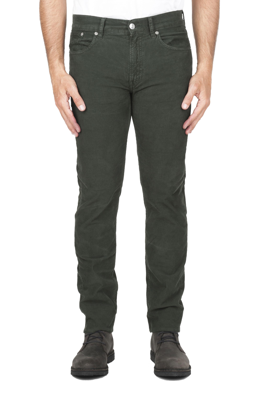 SBU 01461 Vaqueros de algodón de pana acanalados elásticos pre lavados verde 01