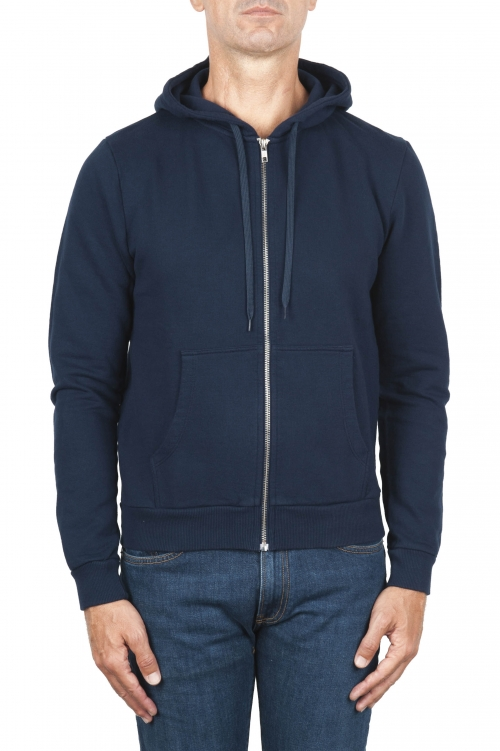 SBU 01464 Blue cotton jersey hooded sweatshirt 04