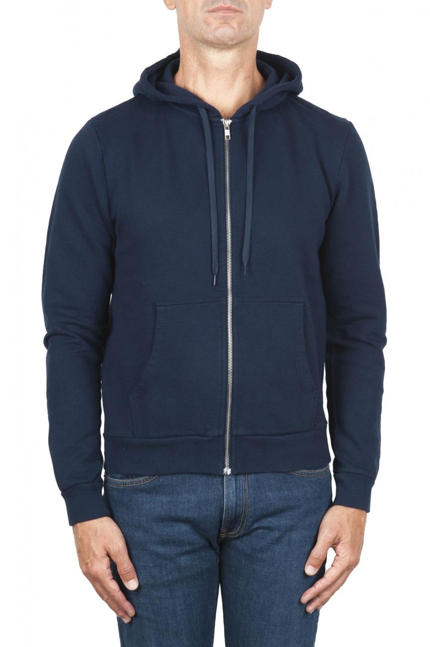 SBU 01464 Felpa con cappuccio in jersey di cotone blu 01