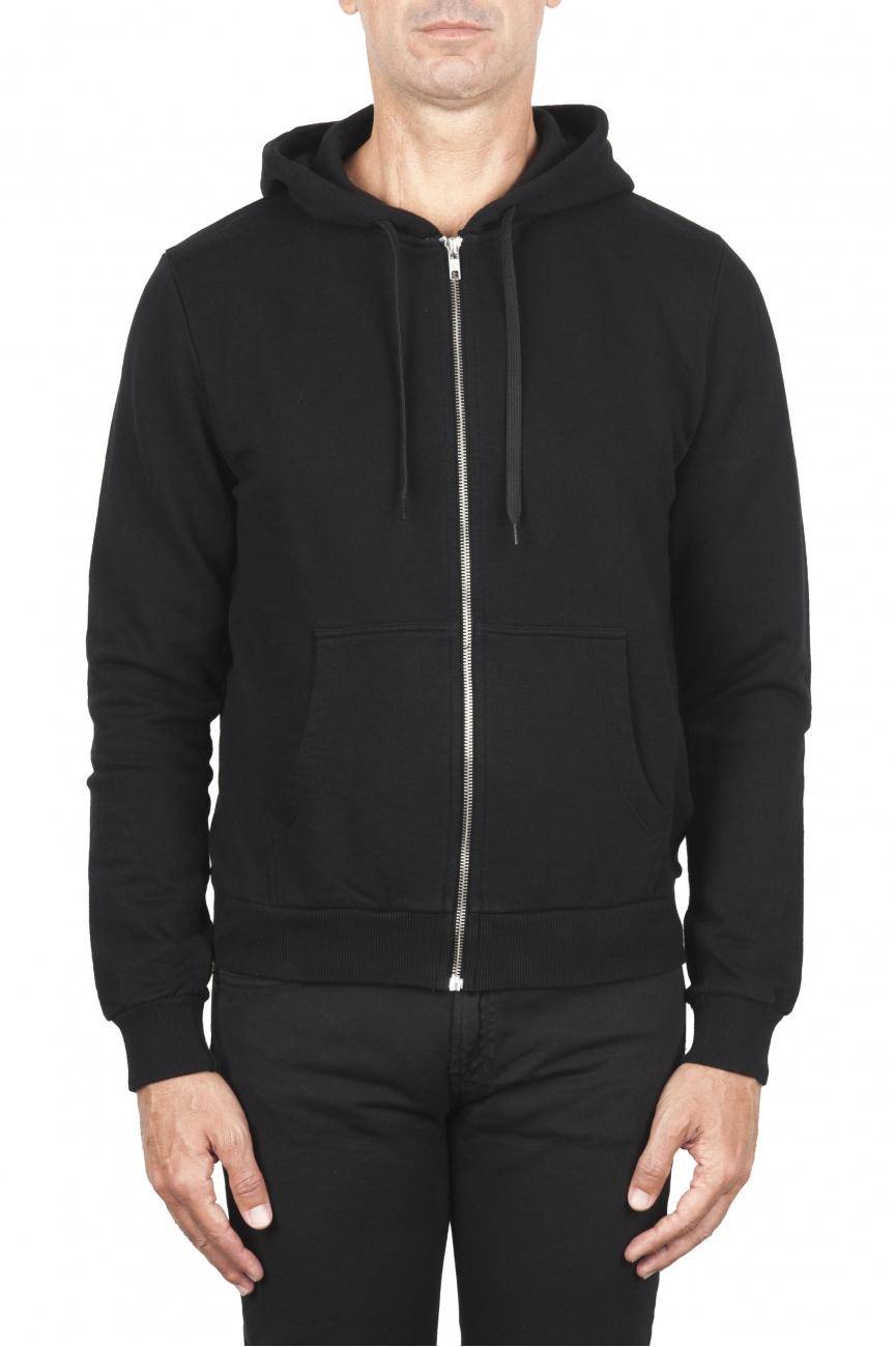 SBU 01465 Felpa con cappuccio in jersey di cotone nera 01