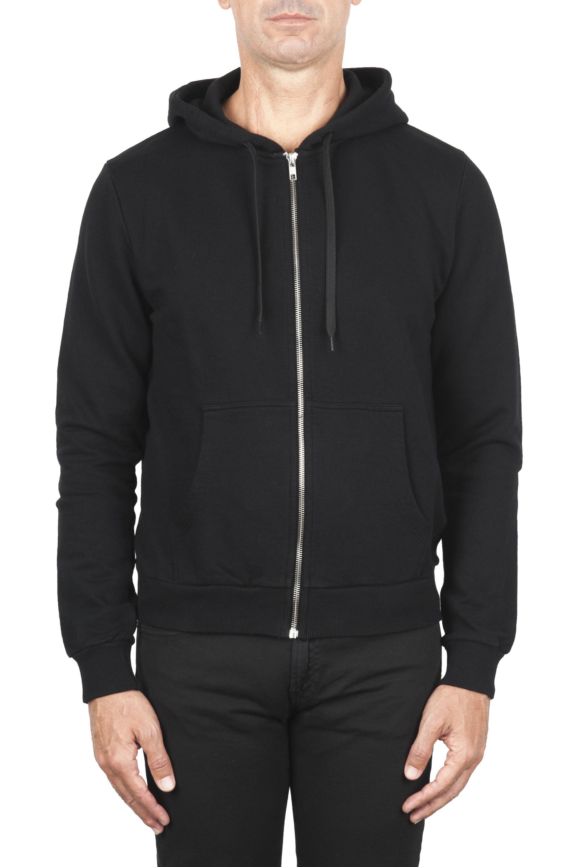 SBU 01465 Black cotton jersey hooded sweatshirt 01