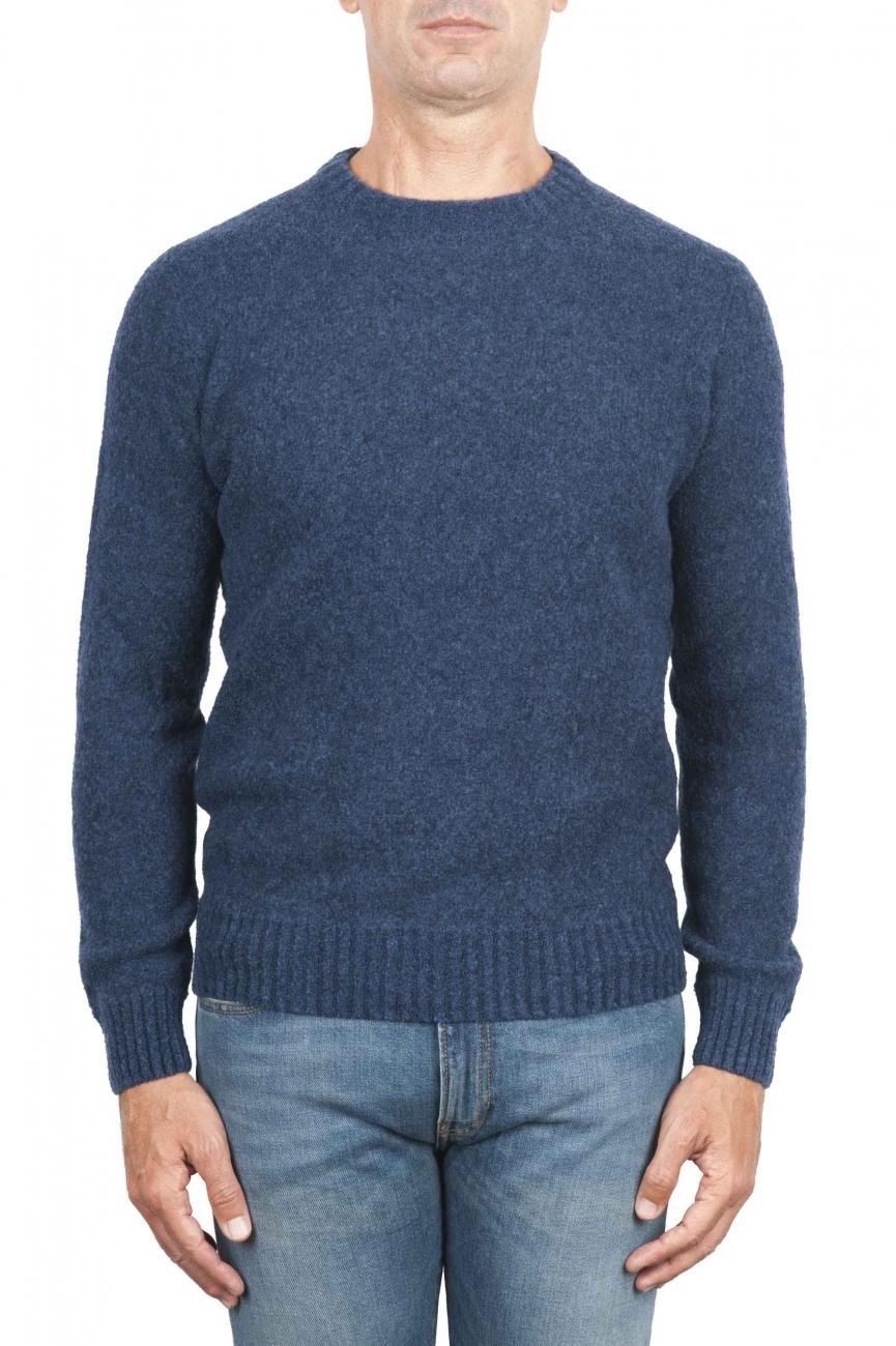 SBU 01468 Suéter azul de cuello redondo en lana boucle merino extra fina 01