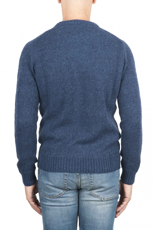 SBU 01468 Blue crew neck sweater in boucle merino wool extra fine 01
